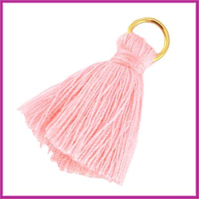 Kwastje met ring small ca.25mm Padparadscha roze