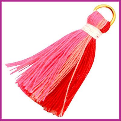 Kwastje Ibiza style 2cm met ring goud multi neon pink red