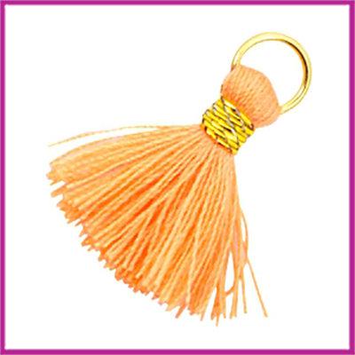 Kwastje Ibiza style 2cm met ring goud coral orange
