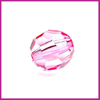 Kunststof facetkraal klein licht roze