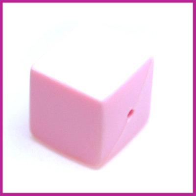 Kunststofkraal kubus pastel roze