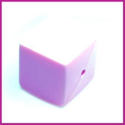Kunststofkraal kubus pastel paars