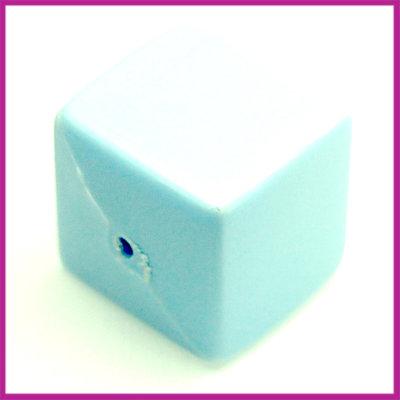 Kunststofkraal kubus pastel blauw