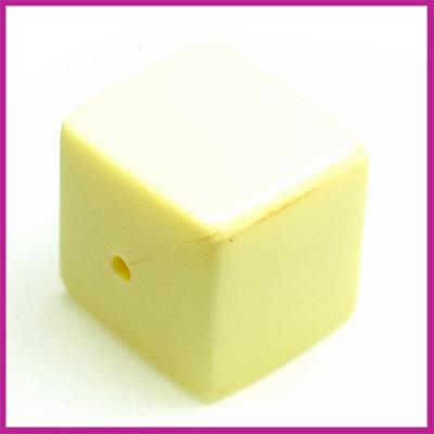 Kunststofkraal kubus pastel geel