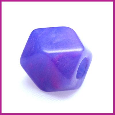 Kunststofkraal kubus klein lila paars