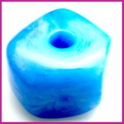 Kunststofkraal 6-kant groot blauw