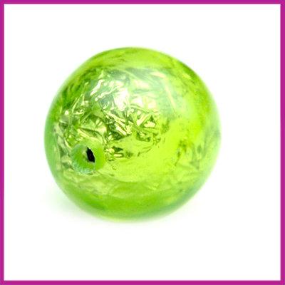 Kunststofkraal groen bal zilverfolie