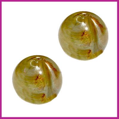 DQ acryl kraal gevlamd groen met goud