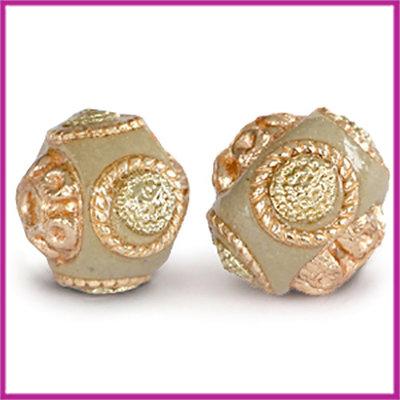Kashmiri bohemian kraal rond 14mm goud - beige