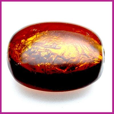 Kunststofkraal bruin plat ovaal zilverfolie