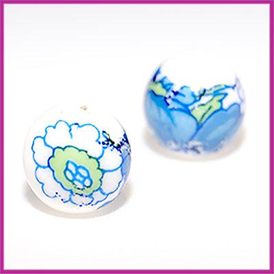 Keramiek balletje bloemen blauw-groen
