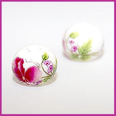 Keramiek balletje bloemen rose-groen