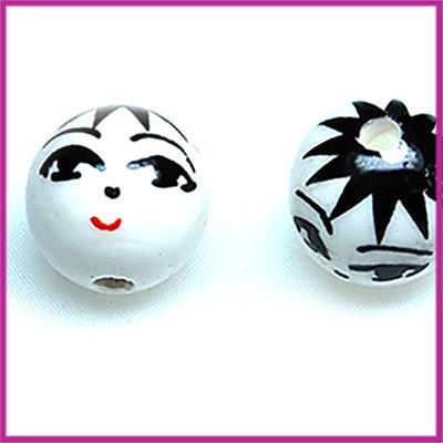 Keramiek gezichtje wit/zwart