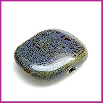 Keramiek platte kraal paars-bruin