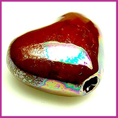 Keramiek groot hart luster olie bordo-paars