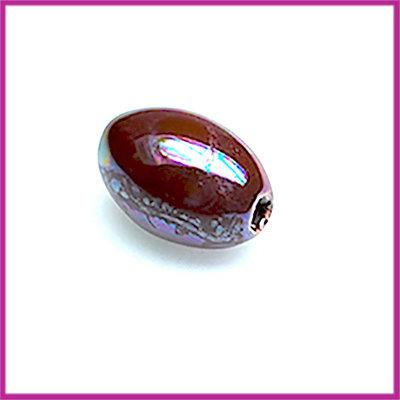Keramiek klein ovaal luster olie bordo-paars