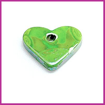 Keramiek hanger hartje luster olie appel groen