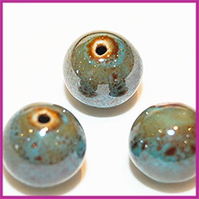 Keramiek rond 18mm High Shine Azuur Blauw/Bruin