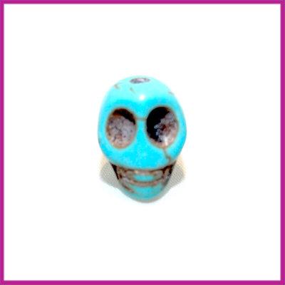 Keramiek doodshoofd kraal 12mm turquoise