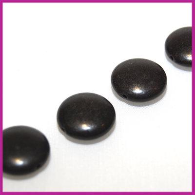 Keramiek mentos kraal 16 mm zwart