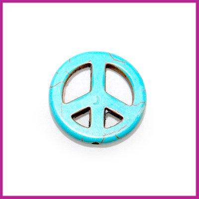 Keramiek peace kraal 15mm turquoise