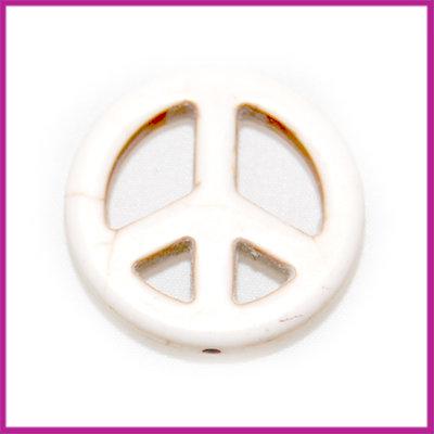 Keramiek peace kraal 25mm creme