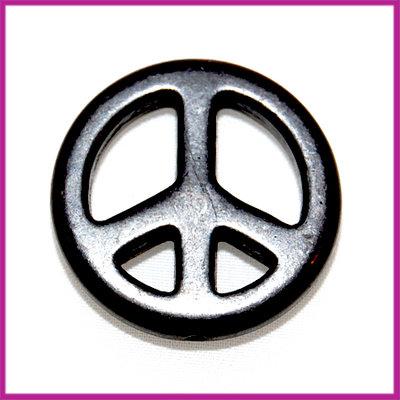 Keramiek peace kraal 25mm zwart