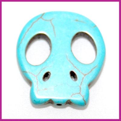 Keramiek spook kraal 25x28mm turquoise