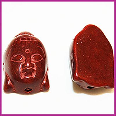 Keramiek Buddha 28x20mm roodbruin