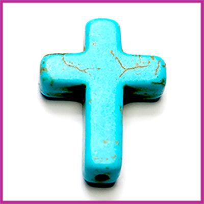 Keramiek kraal kruis 30mm Turquoise