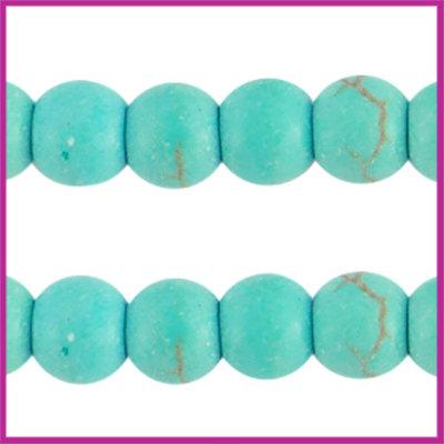 Keramiek turquoise kraal rond 4mm turquoise blue