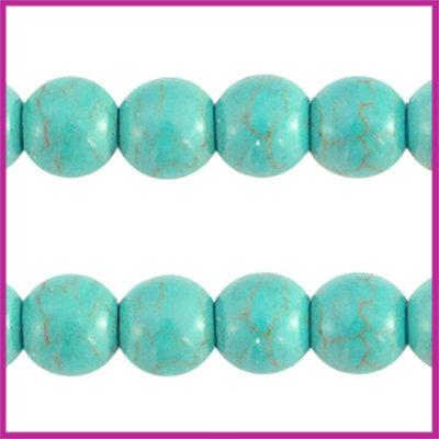 Keramiek turquoise kraal rond 6mm turquoise blue