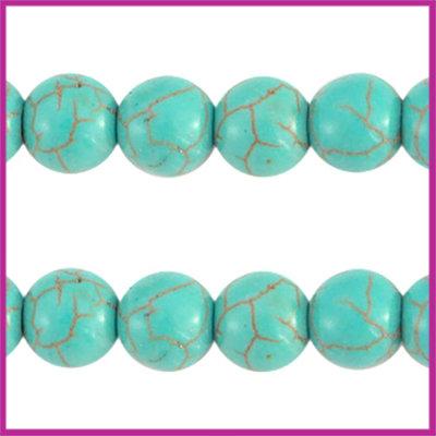 Keramiek turquoise kraal rond 8mm turquoise blue