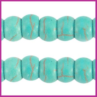 Keramiek turquoise kraal disc 6x4mm turquoise blue