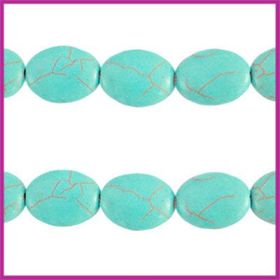 Keramiek turquoise kraal ovaal 18x3mm turquoise blue