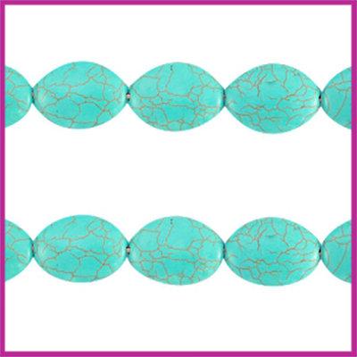 Keramiek turquoise kraal ovaal 25x18mm turquoise blue