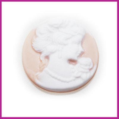 Camee hoofd vintage rose-wit rond 20 mm