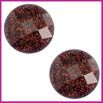 Basic cabochon plaksteen acryl 10mm diep paars-rood glitter