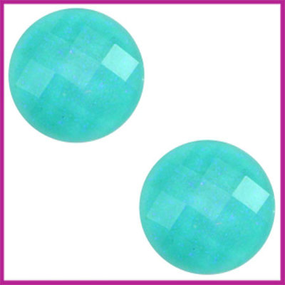 Basic cabochon plaksteen acryl 10mm enirite green glitter