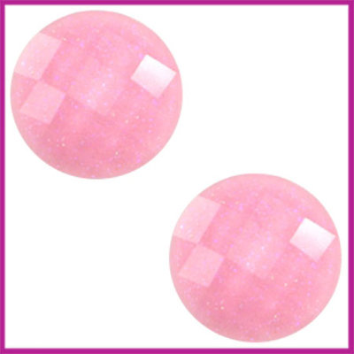 Basic cabochon plaksteen acryl 10mm pink glitter