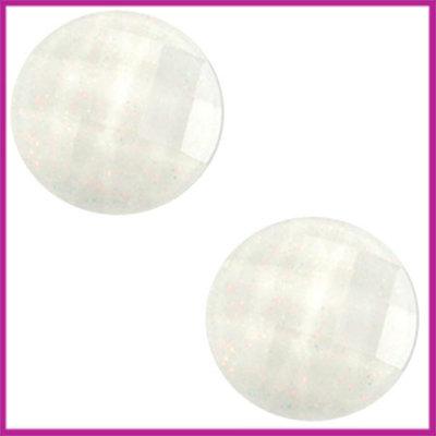 Basic cabochon plaksteen acryl 10mm wit glitter