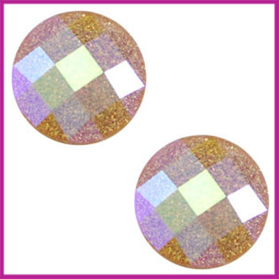 Basic cabochon plaksteen acryl 10mm dark topaz glitter diamo