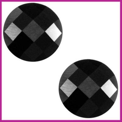 Basic cabochon plaksteen acryl 10mm zwart