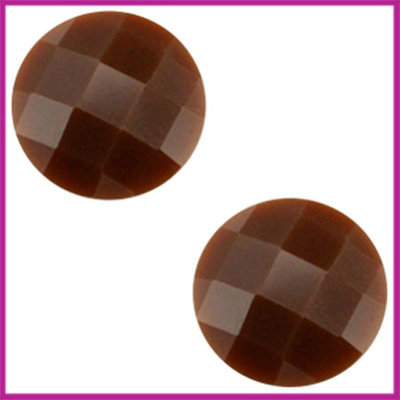 Basic cabochon plaksteen acryl 10mm donkers bruin