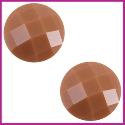 Basic cabochon plaksteen acryl 10mm cognac bruin