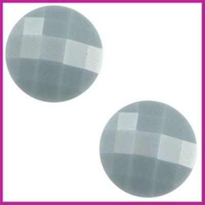 Basic cabochon plaksteen acryl 10mm pale blauw grijs
