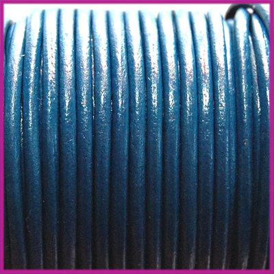 DQ leer rond 2 mm Donker blauw per 50cm