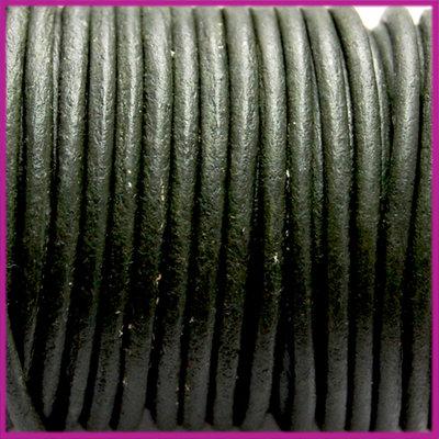 DQ leer rond 2 mm Vintage olijf groen per 50cm