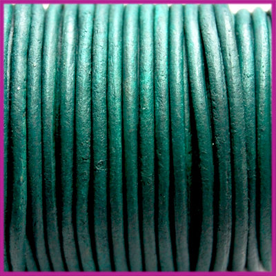 DQ leer rond 2 mm Vintage blue zircon per 50cm