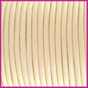 DQ leer rond 2 mm Ivory yellow per 50cm